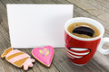 Valentines day greeting card and coffee cup with cookies - PhotoDune Item for Sale