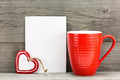 Valentines day greeting card with heart and cup - PhotoDune Item for Sale