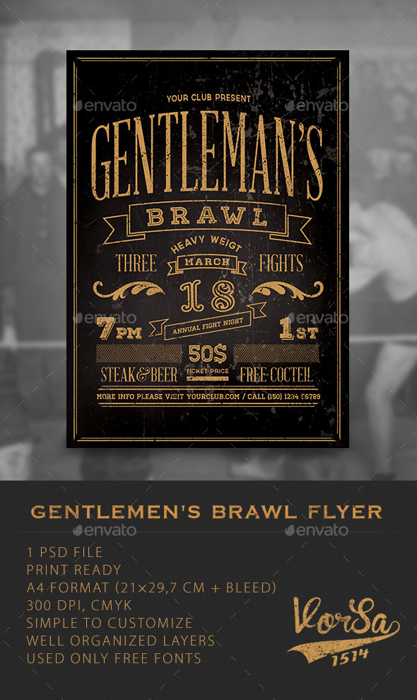 GraphicRiver Gentlemen s Brawl Flyer 10051767