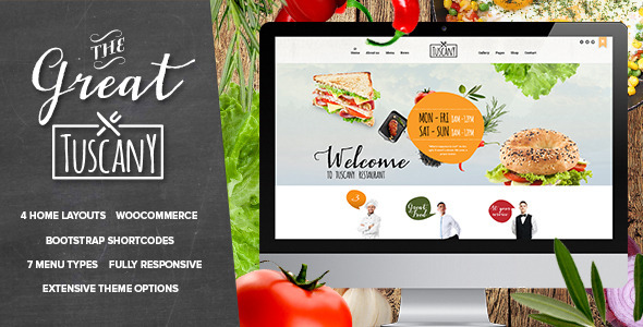 Tuscany Restaurant Shop Creative WordPress Theme Ihsanas Thumbr - Restaurant template wordpress