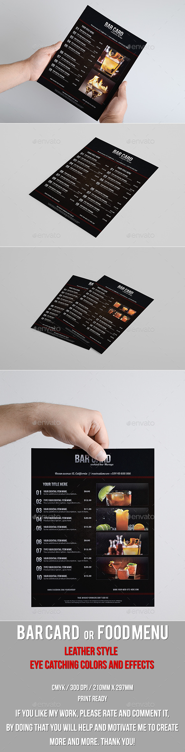 GraphicRiver Leather Style Bar Card or Food Menu 10110474