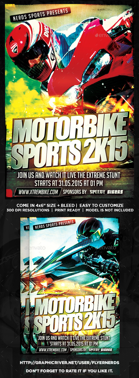GraphicRiver Motorbike 2K15 Sports Flyer 10111029