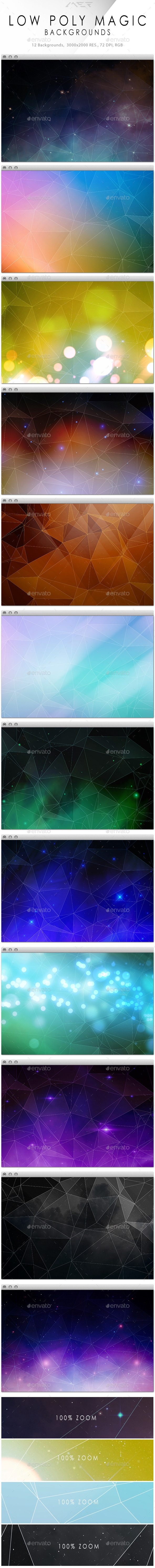 GraphicRiver Low Poly Magic Backgrounds Collection 10111076