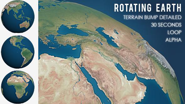 VideoHive Rotating Planet Earth Terrain Bump Detailed 10111118