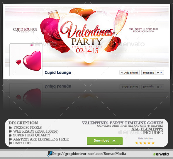 Valentines Love Party Facebook Timeline Cover