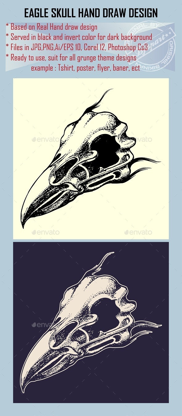 GraphicRiver Eagle Skull Hand draw Design Element 10111376