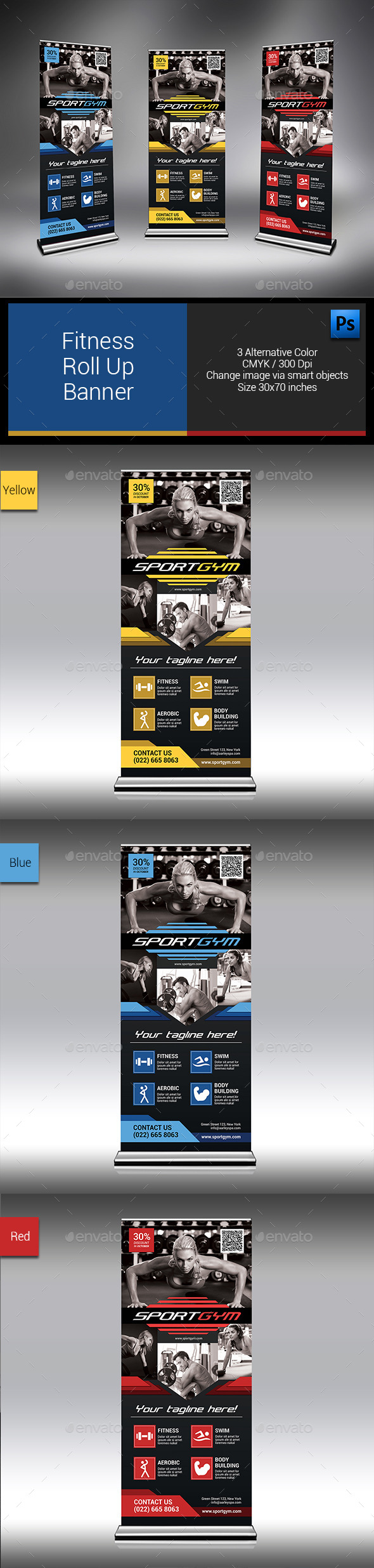 GraphicRiver Fitness Roll Up Banner 10111669