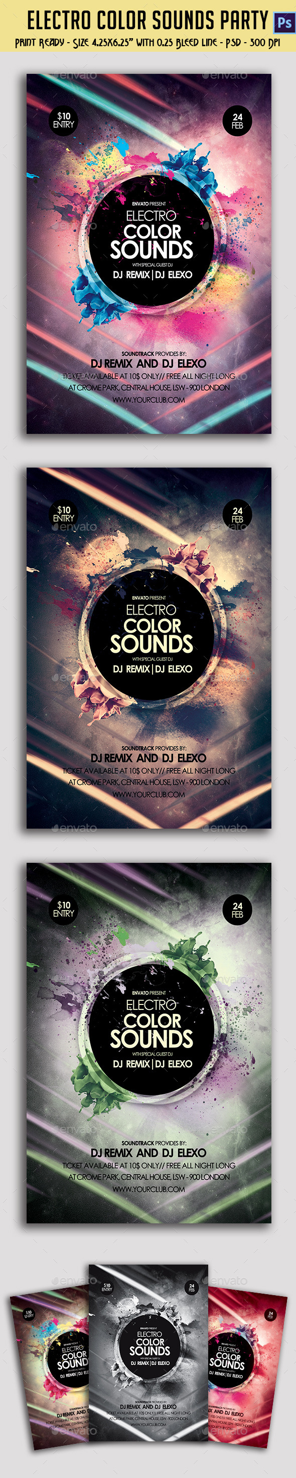 GraphicRiver Electro Color Sounds Party Flyer 10111719