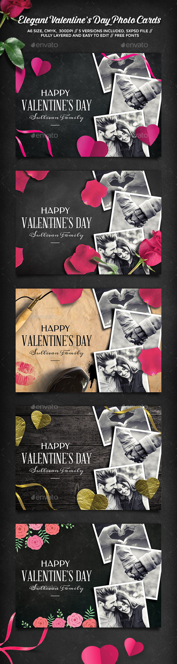GraphicRiver Elegant Valentine's Day Photo Cards 10112180