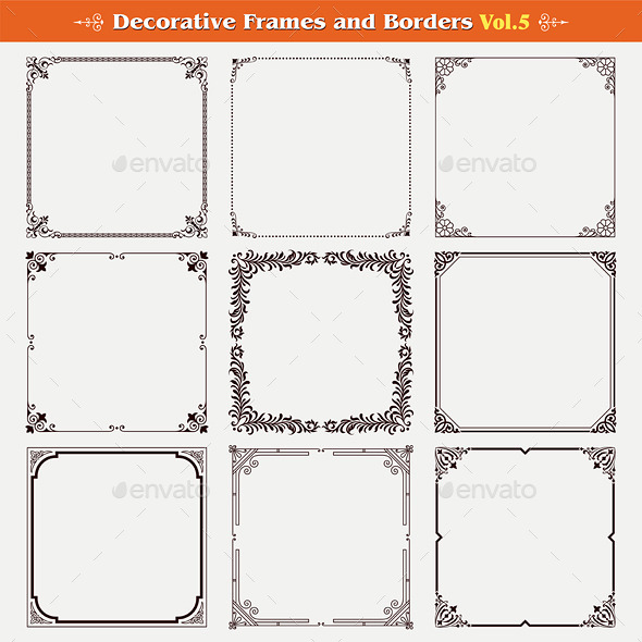 Decorative Frames and Borders Set