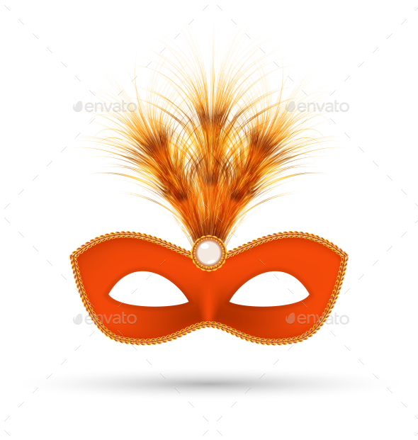 GraphicRiver Orange Carnival Mask with Fluffy Feathers 10112326