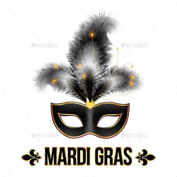GraphicRiver Black Mardi Gras Carnival Mask 10112384