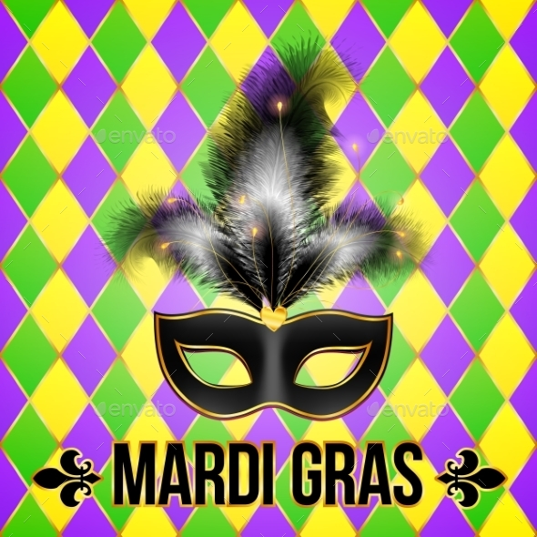 Black Mardi Gras Mask with Feathers