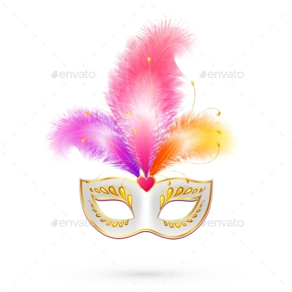 Carnival Mask with Pink Feathers