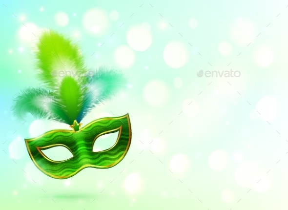 GraphicRiver Green Carnival Mask with Feathers 10112440