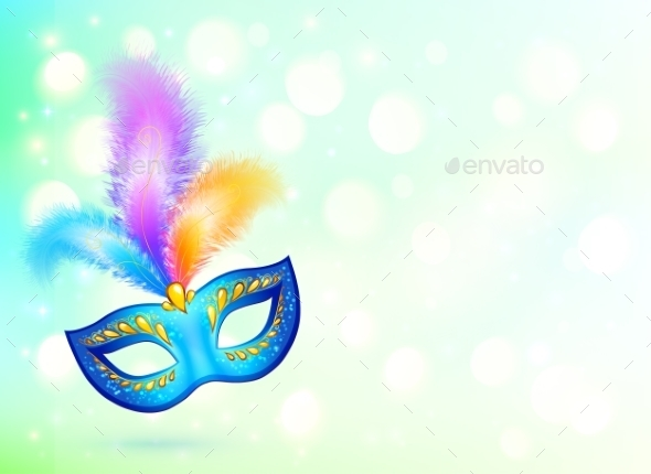 GraphicRiver Blue Carnival Mask with Colorful Feathers 10112442