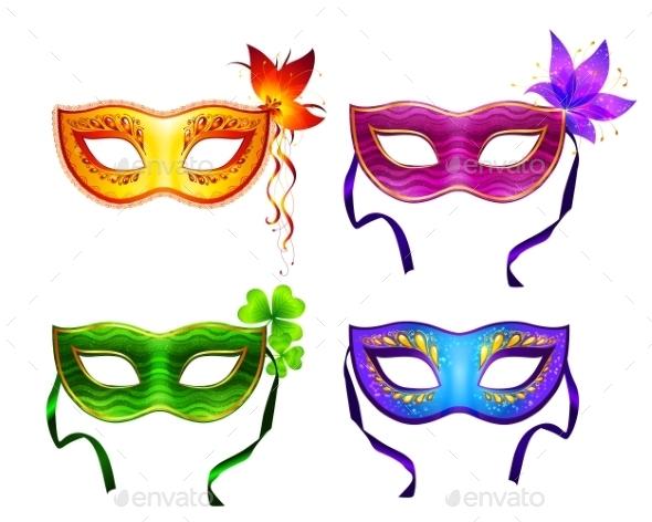 GraphicRiver Colorful Carnival Masks Set 10112465