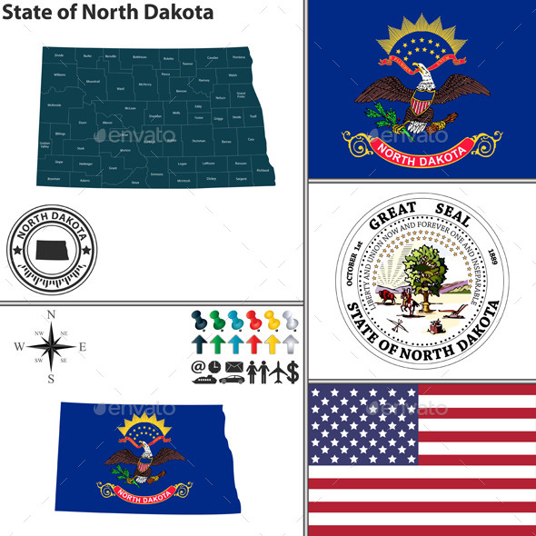 GraphicRiver Map of State North Dakota USA 10112542