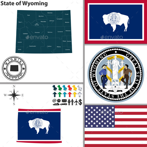 Map of State Wyoming USA