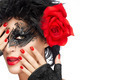 Beauty Fashion Woman with Elegant Mask. Red Lips and Manicure - PhotoDune Item for Sale