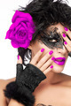 Beauty Fashion Woman with Elegant Mask. Purple Lips and Manicure - PhotoDune Item for Sale