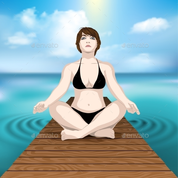 Woman Practicing Yoga at Sea