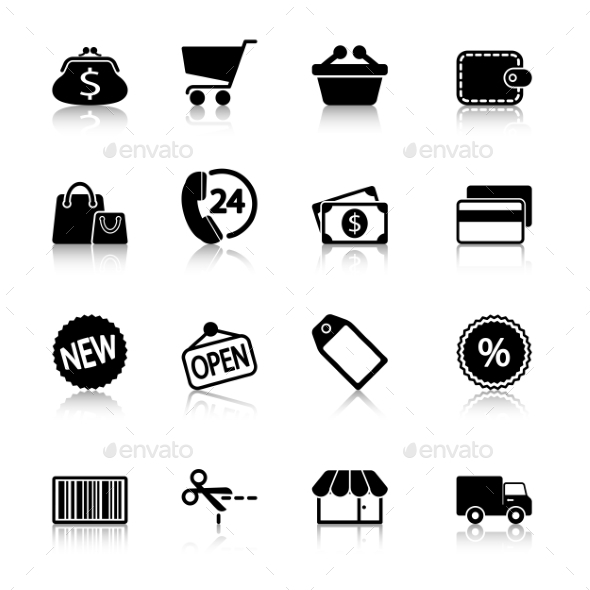 GraphicRiver Market Icons Set with Reflection 10112867