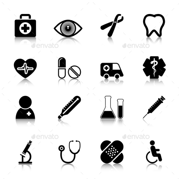 GraphicRiver Medical Icons Set with Reflection 10113127