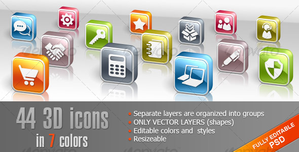 GraphicRiver 44 3D icons in shapes 127772