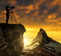 Photographer photographing the sunset over the Matterhorn - PhotoDune Item for Sale