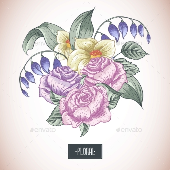 GraphicRiver Vintage Floral Bouquet 10113189