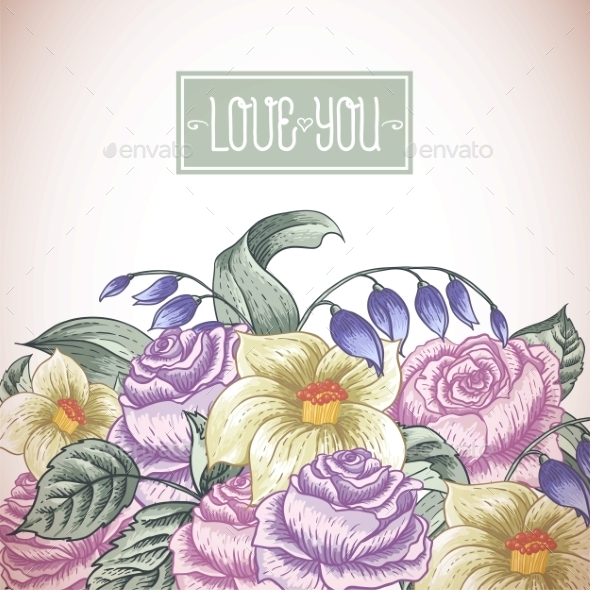 GraphicRiver Vintage Floral Bouquet 10113227