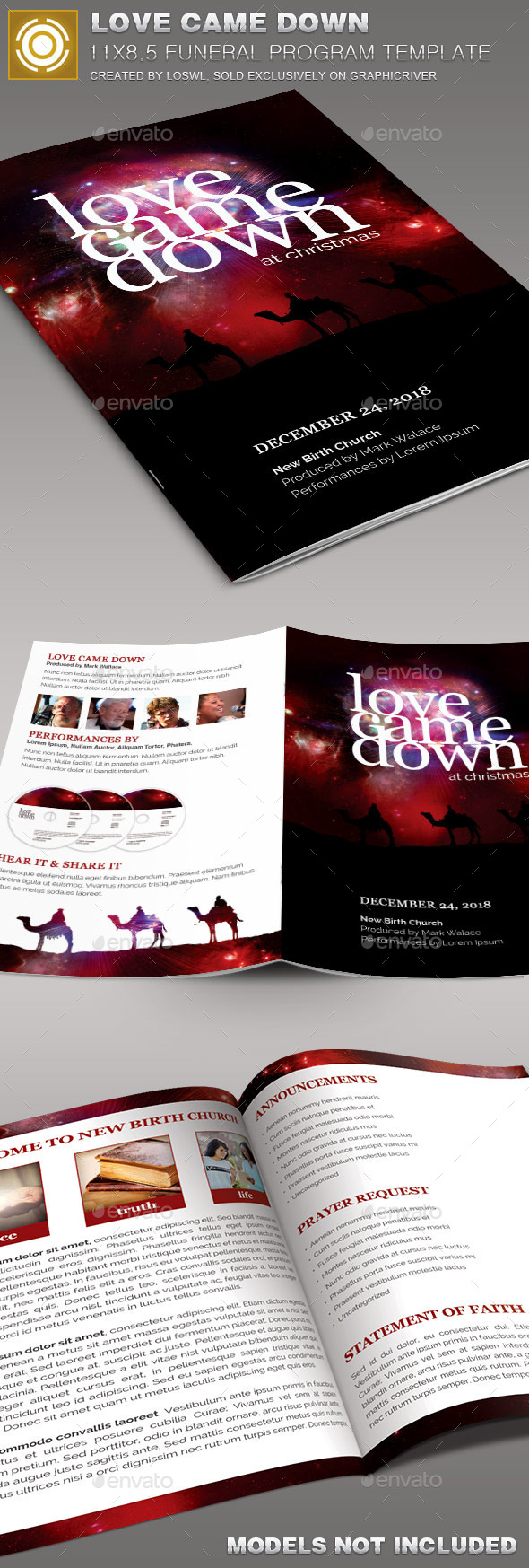 GraphicRiver Love Came Down Church Bulletin Template 10086307