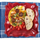 Omelette with sausage on plate and blue table mat - PhotoDune Item for Sale