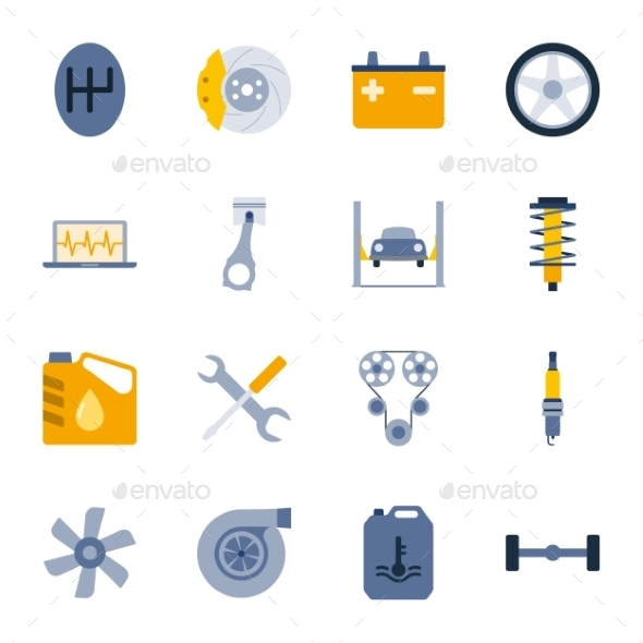 GraphicRiver Car Service Flat Icons Set 10114496