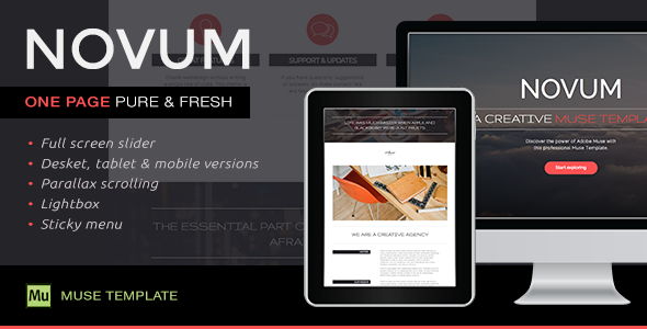 ThemeForest Novum One Page Muse Template 10114551