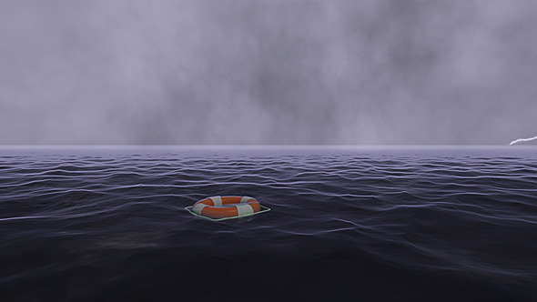 Lifebuoy In Stormy Ocean Safety Concept