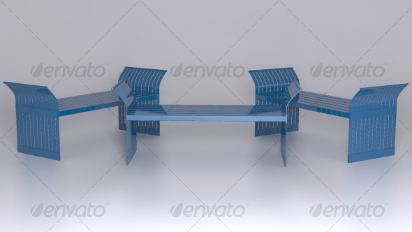 4' Steel Backless Bench - 3DOcean Item for Sale