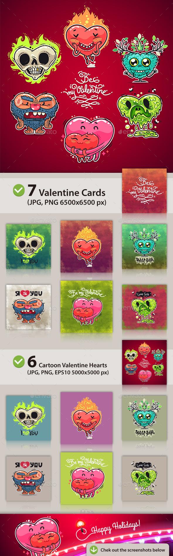 GraphicRiver Cartoon Valentine Hearts Set 10116713