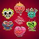 Cartoon Valentine Hearts Set - GraphicRiver Item for Sale