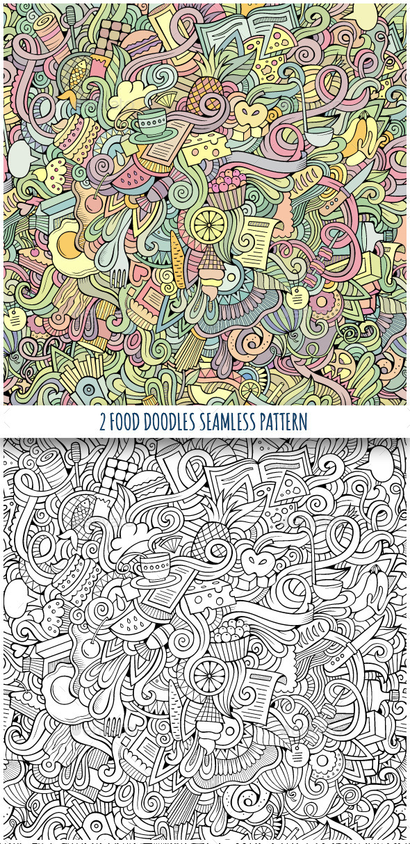 GraphicRiver 2 Food Doodles Seamless Pattern 10117101