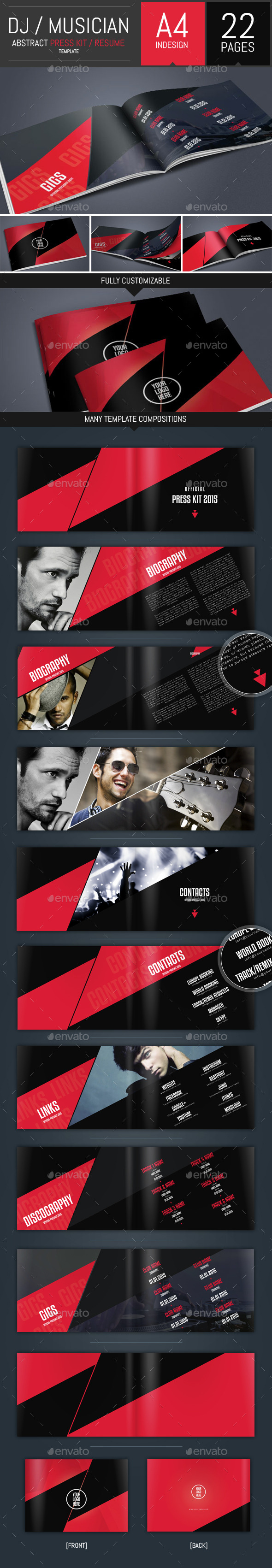 GraphicRiver Dj and Musician Press Kit Resume Template 10117222