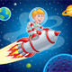 Rocket Kid Blasting Through Space - GraphicRiver Item for Sale