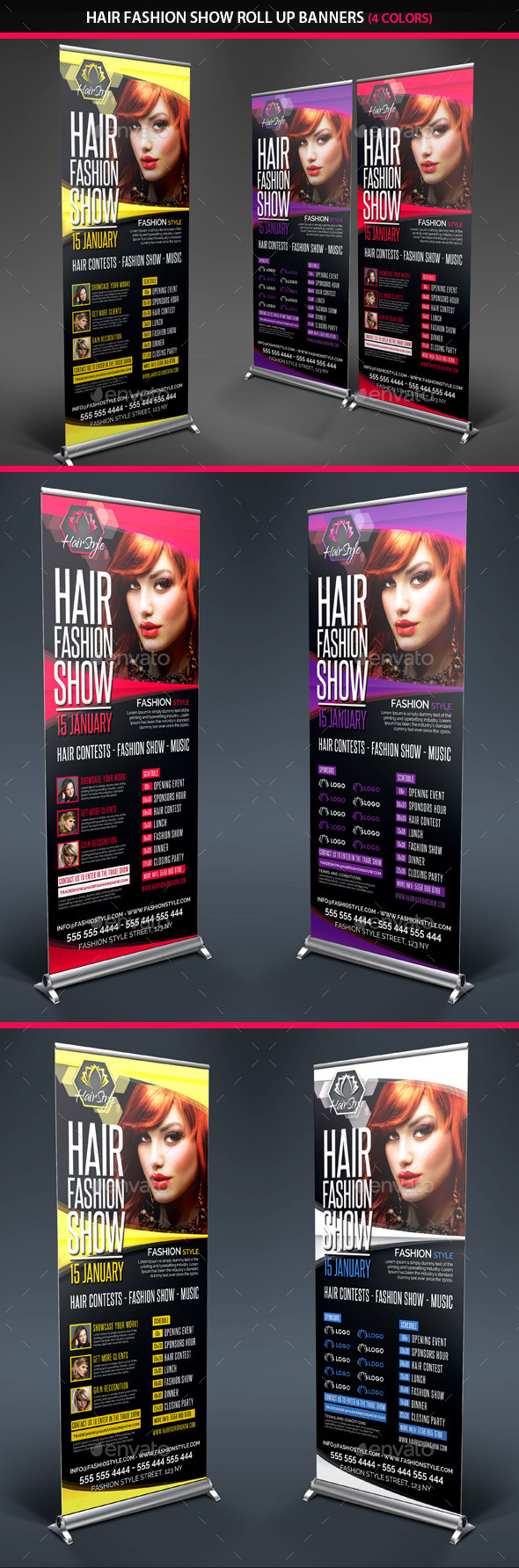 Hair Fashion Show Promotion Roll Up Banners