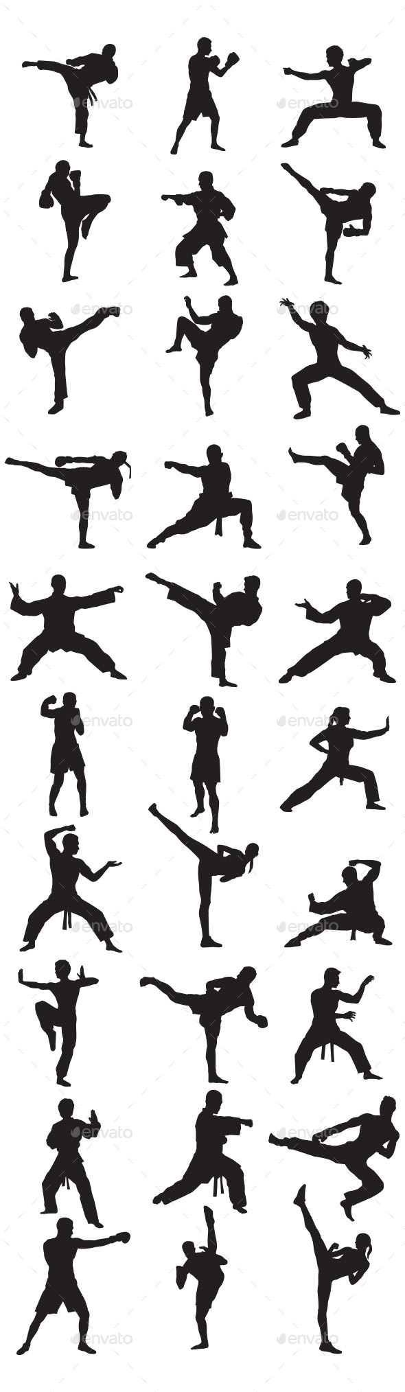 GraphicRiver Martial Art Silhouettes 10117582