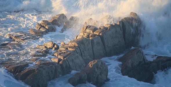 VideoHive Waves Wash over Ocean Rocks near Monterey 10117792