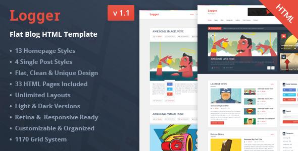 Logger – Flat Blog HTML Template Download