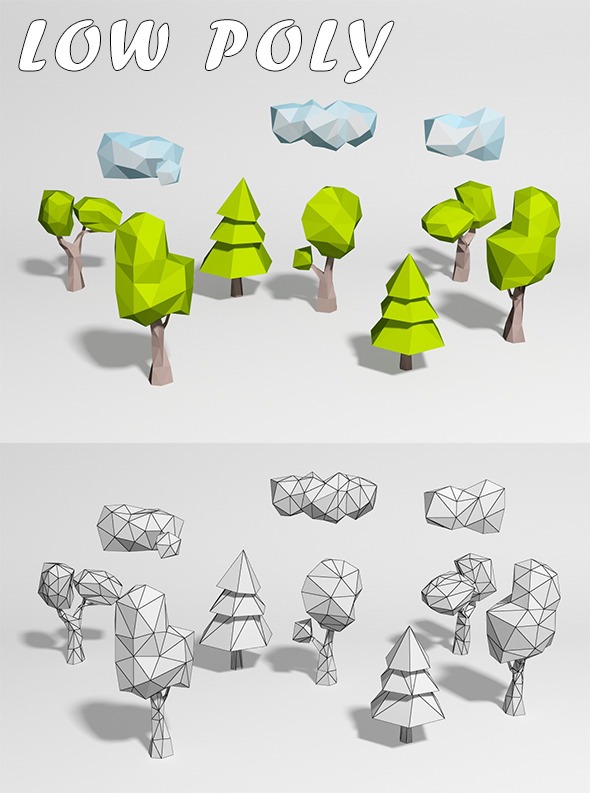 3DOcean Low Poly 5 Trees and 3 louds 10117800