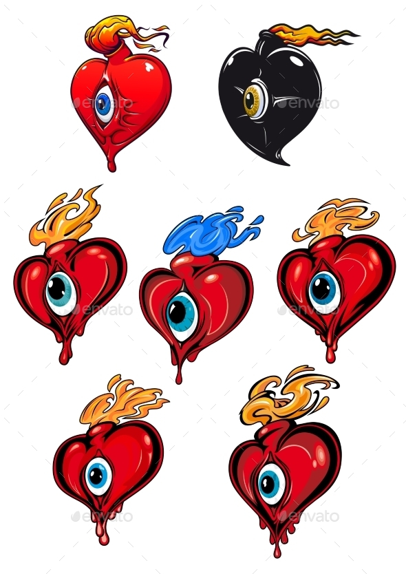 GraphicRiver Hearts with Eyes and Flames 10117873
