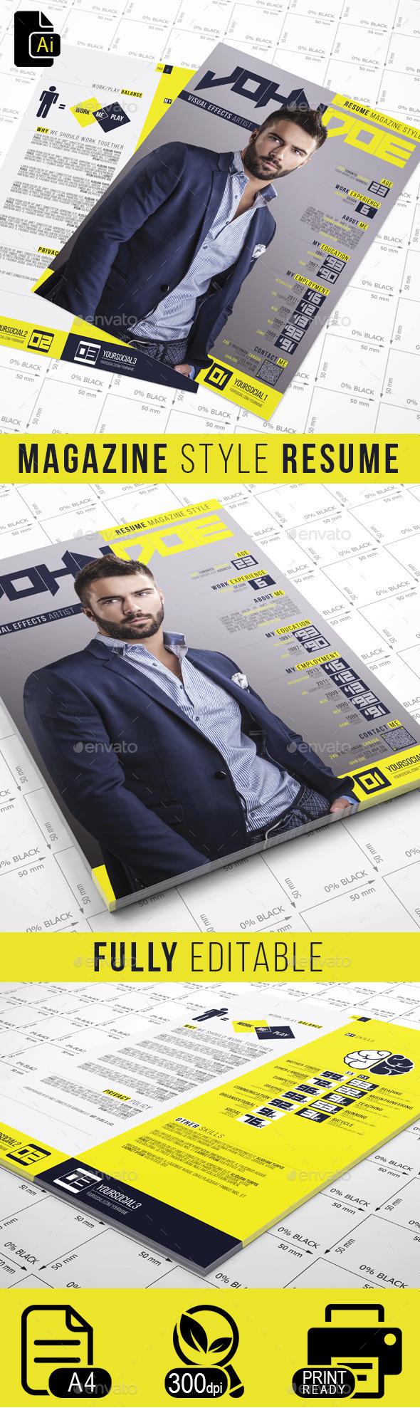 GraphicRiver Magazine Style Resume 10050021